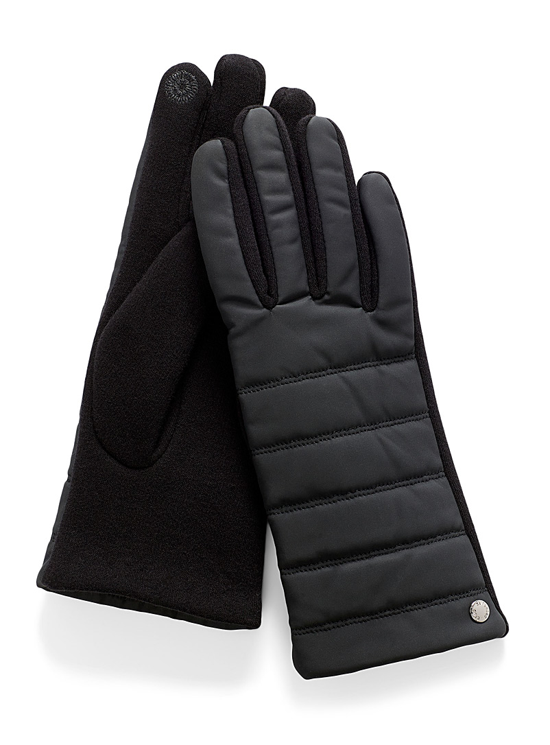 Simons Black Quilted faux-leather tactile gloves for women