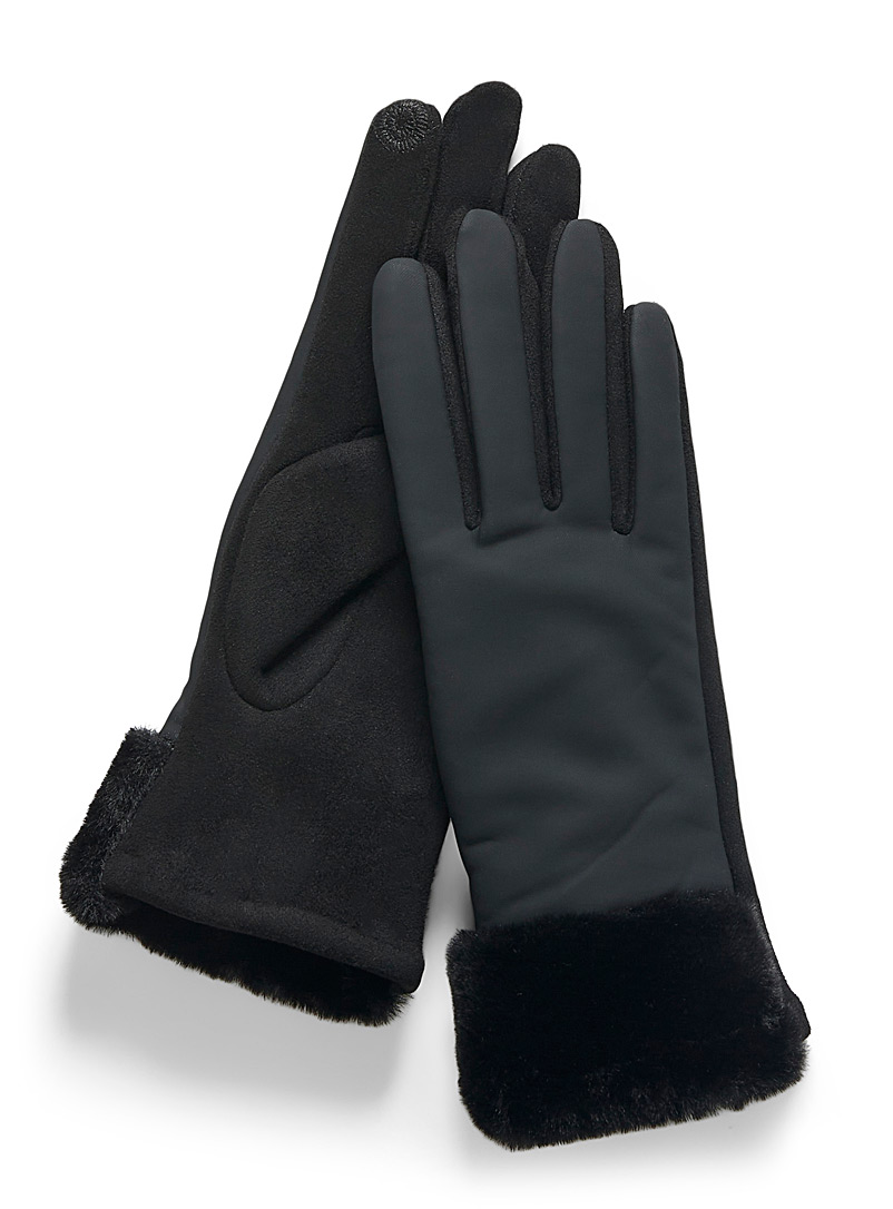 Simons Black Faux-fur band water-repellent gloves for women