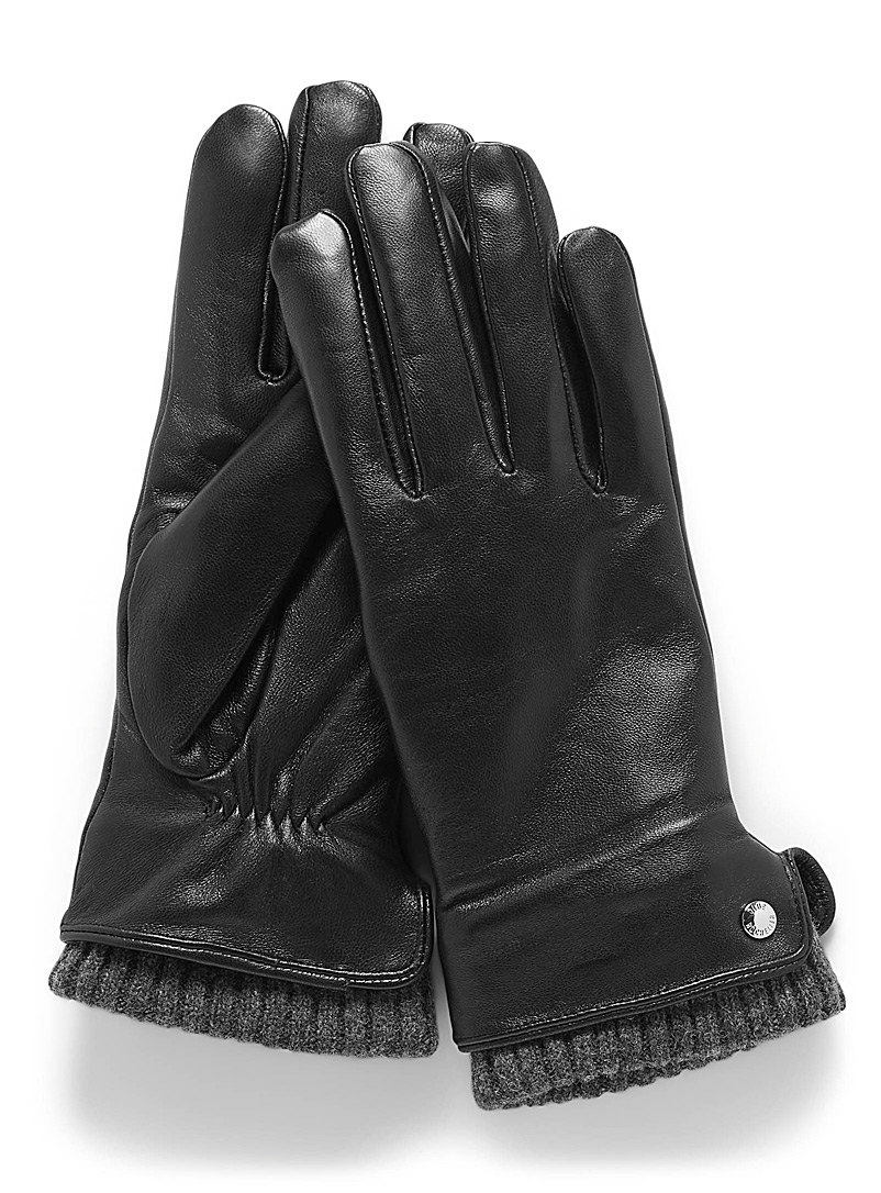 Button and knit cuff leather gloves