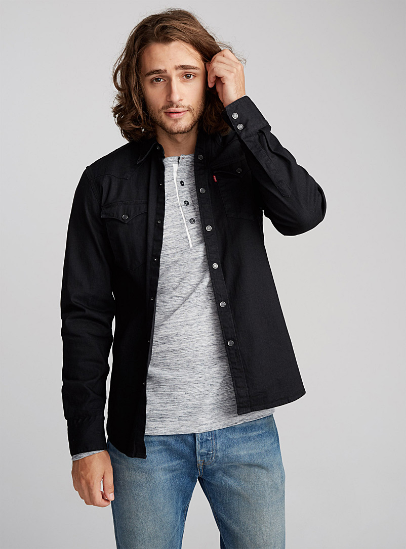 Dark denim shirt  Semi-tailored fit - Long sleeves - Black
