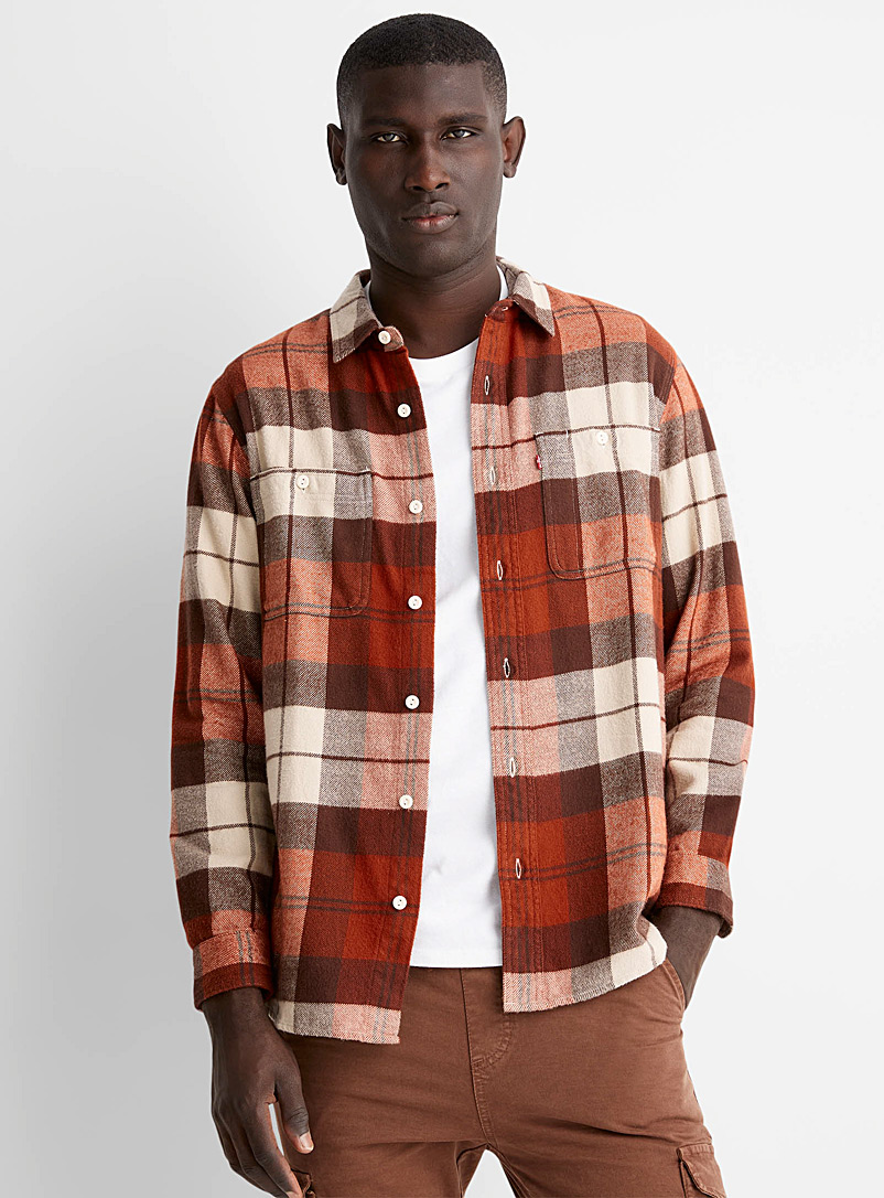 Levi's Patterned Brown Heritage check flannel shirt for men