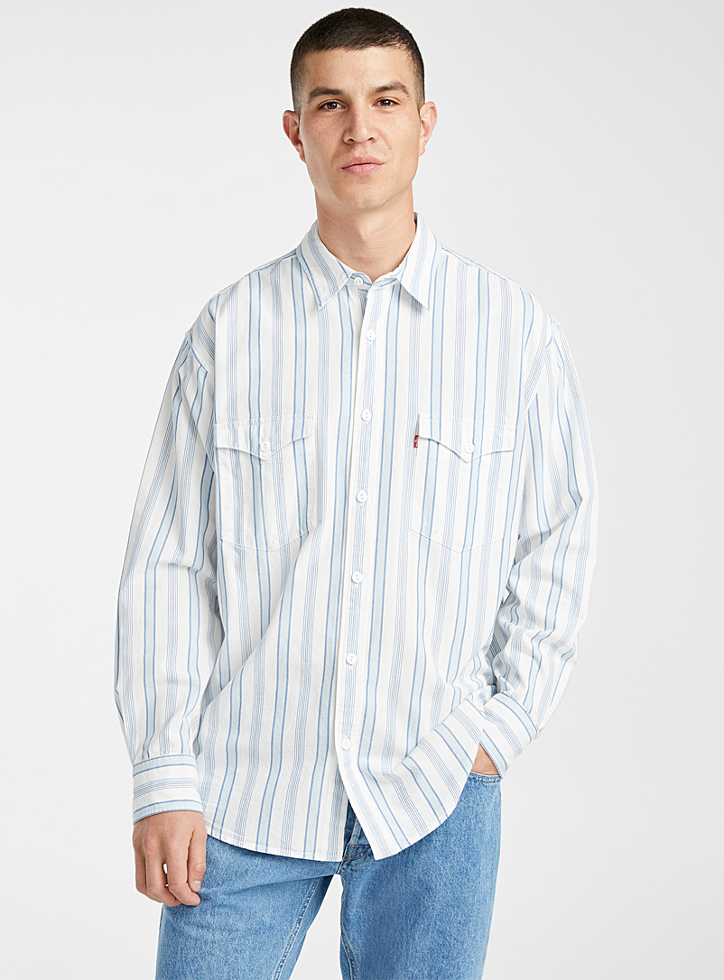 Levi's Ecru/Linen Graphic blue shirt   for men