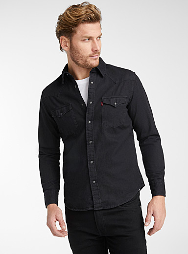 Levi's Black Dark denim Western shirt  Modern fit for men