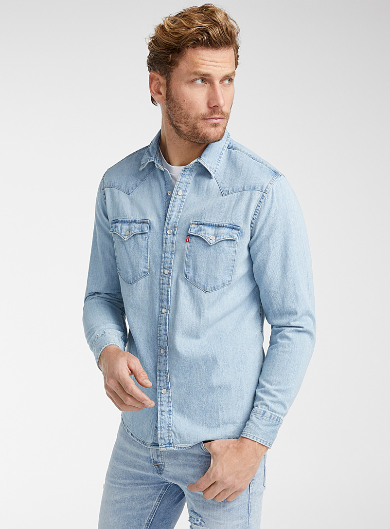 Levi's Baby Blue Western denim shirt  Modern fit for men