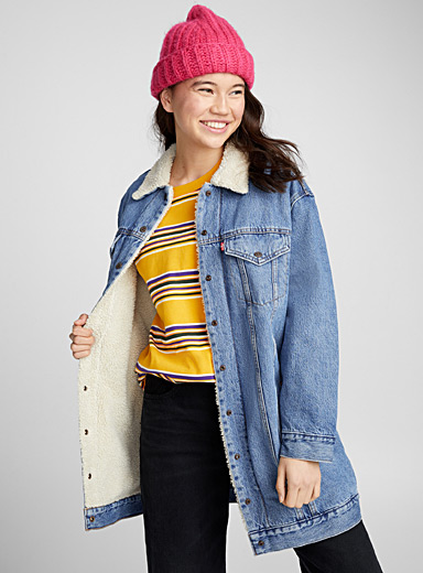 Long sherpa jean jacket