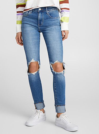 Distressed-knee 721 high-rise skinny jean