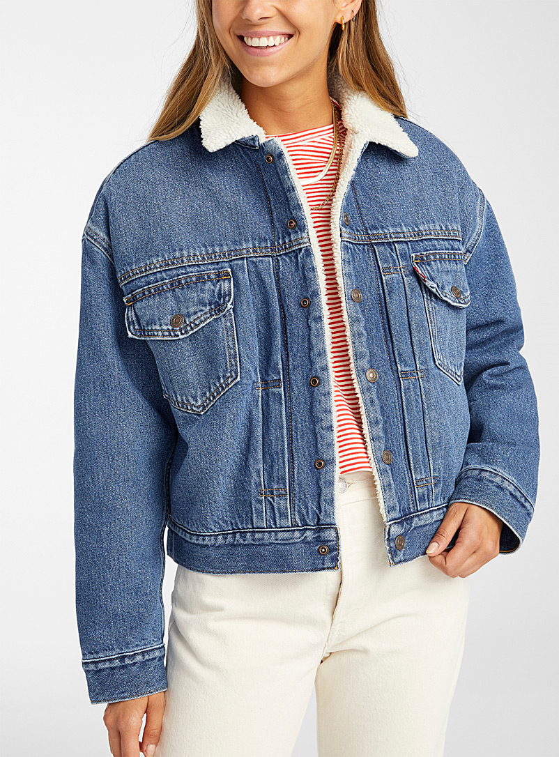 Levi's Blue Sherpa-lined jean jacket for women
