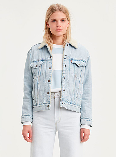 Levi's Slate Blue Trucker sherpa jean jacket for women