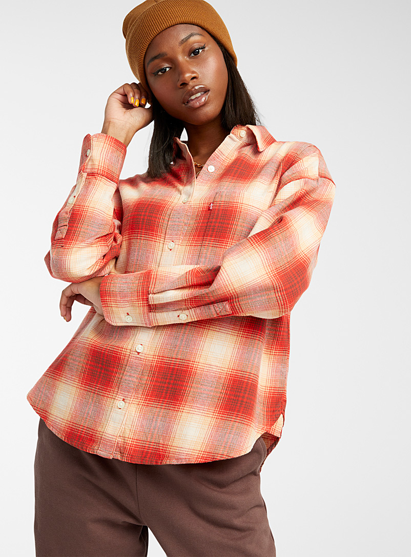 Levi's Patterned Green Maple leaf check shirt for women