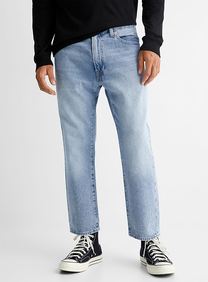 Levi's Marine Blue Cropped 551 Z Authentic light blue dad jean Straight fit for men