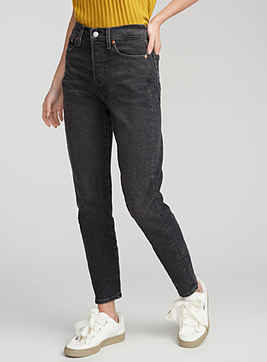 Black wedgie high-rise jean