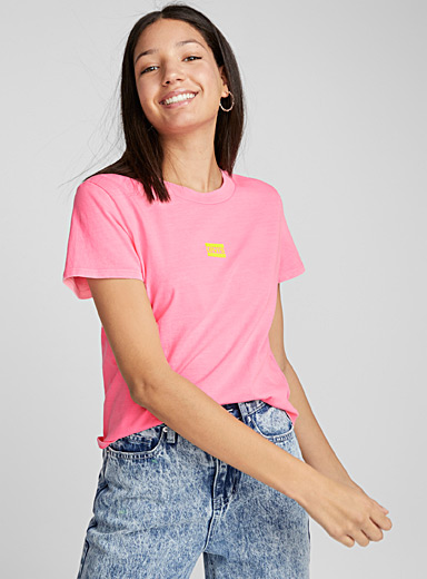 Neon pink cropped tee