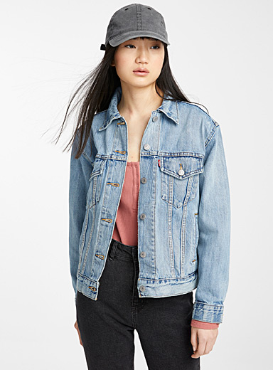 Levi's Sapphire Blue Ex-Boyfriend trucker denim jacket for women