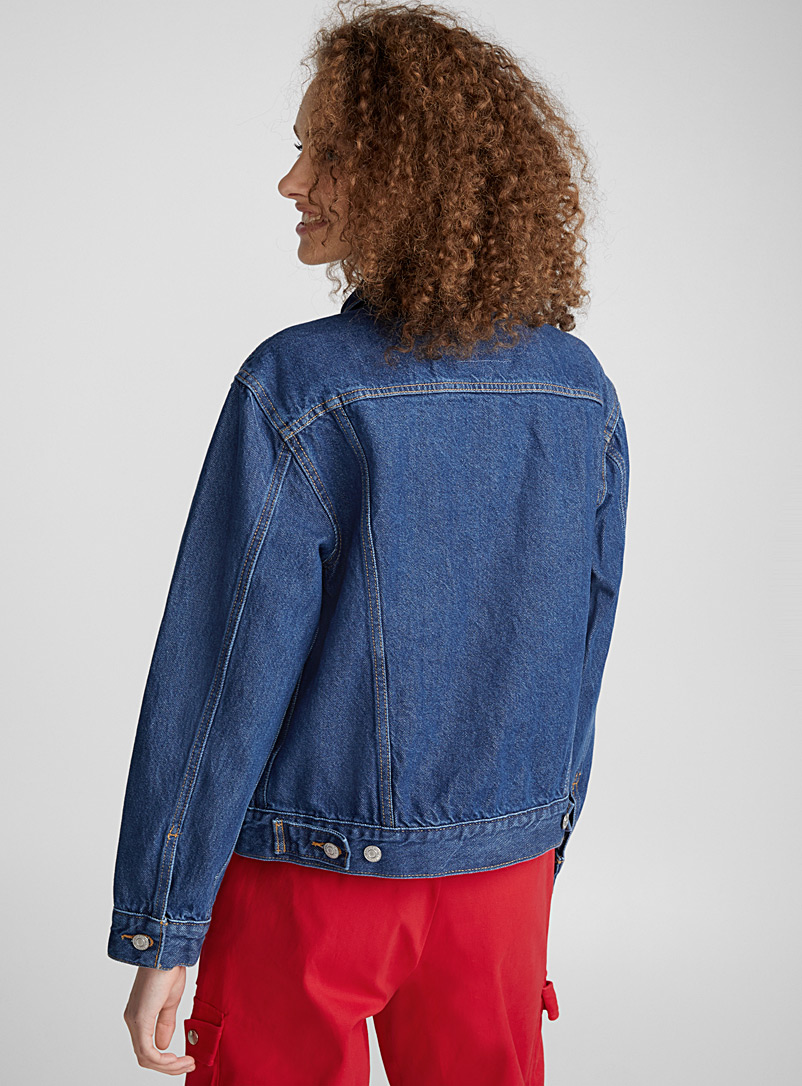 Trucker boyfriend jean jacket - Denim Jackets - Dark Blue