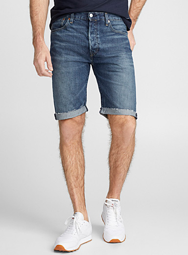 501 faded indigo denim Bermudas