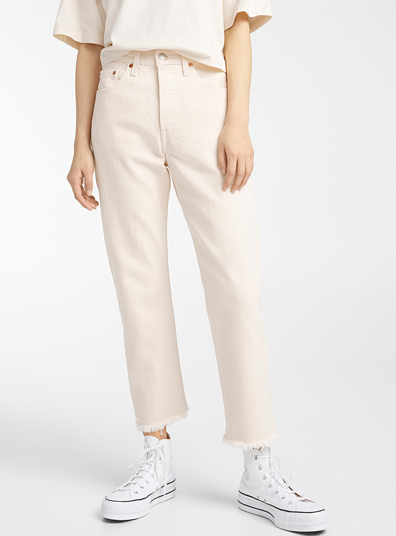 Levi's Ivory White Solid 501 cropped jean for women