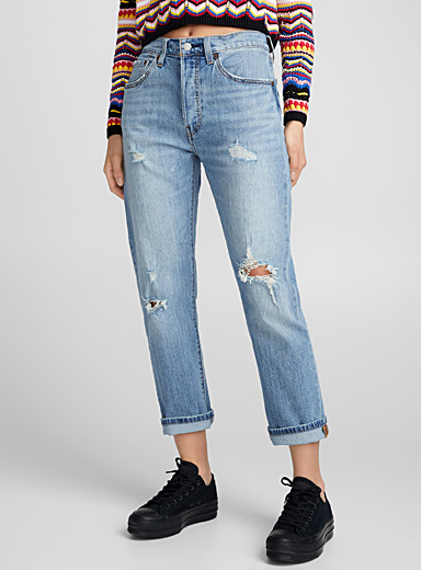 Distressed cropped high-rise jean