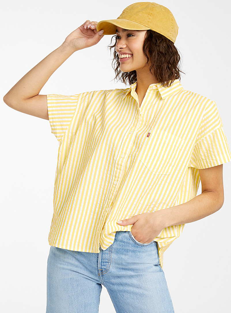 Levi's Golden Yellow Yellow stripe waffle shirt for women