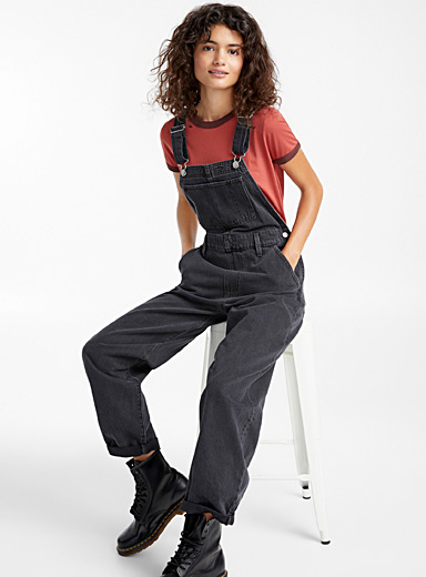 Loose denim overalls