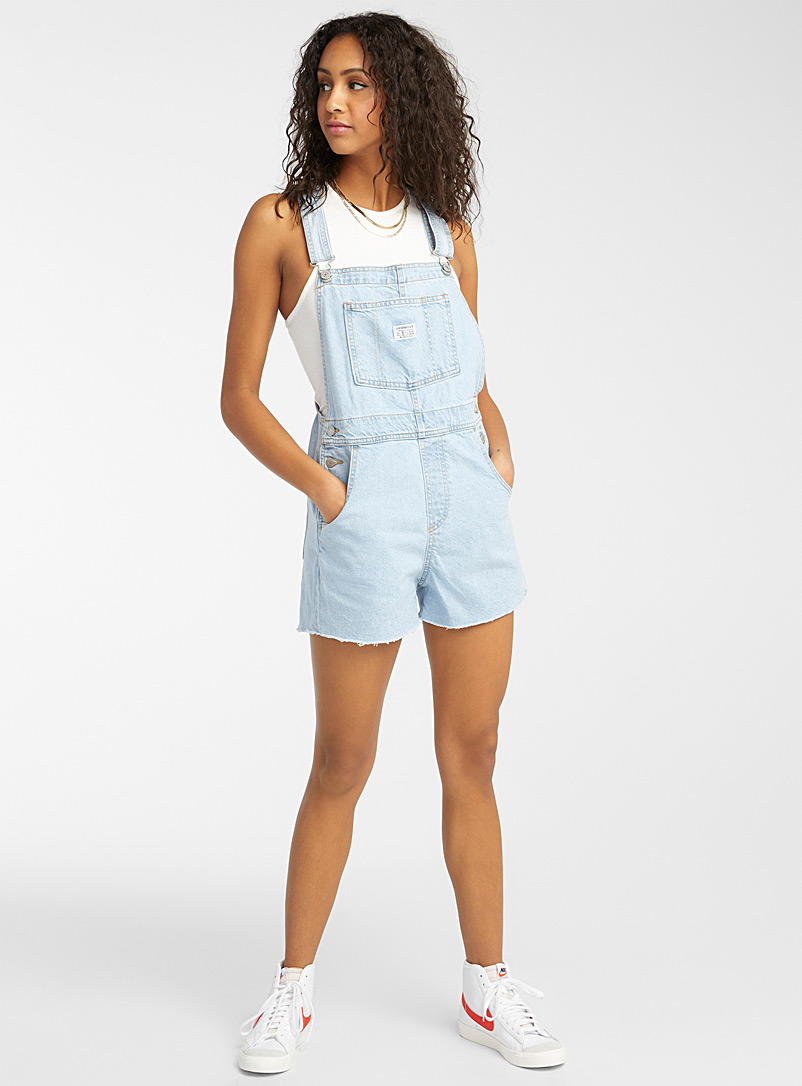 Levi's Baby Blue Light blue short overalls for women