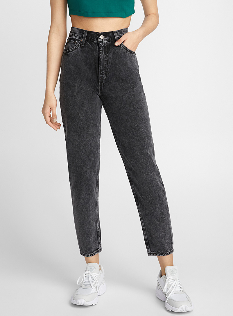Bleached mom jean - High Rise - Dark Grey
