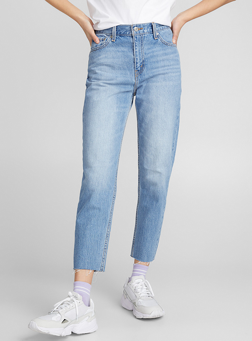 Bleached mom jean - High Rise - Baby Blue