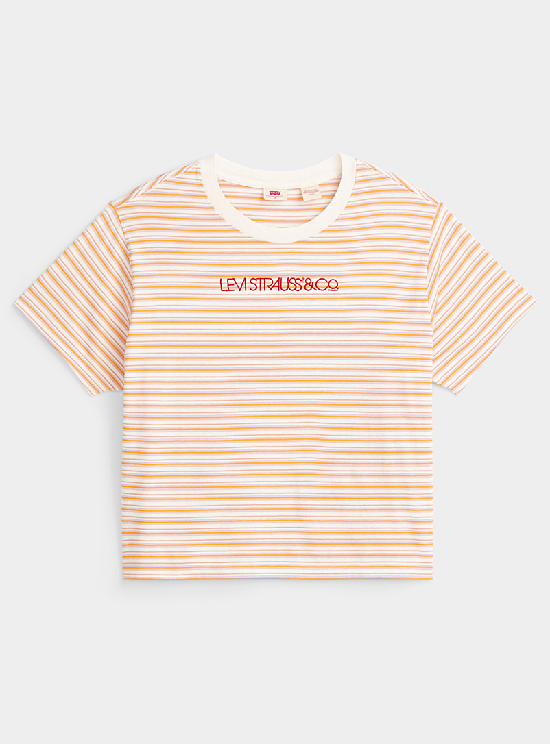 Colourful embroidered mini-stripe tee