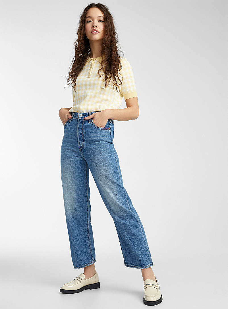 Levi's Sapphire Blue Ribcage faded-blue straight jean for women