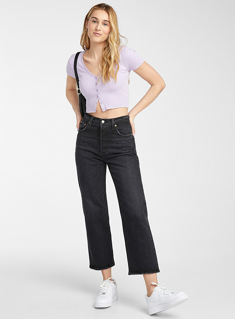 Levi's Oxford Ribcage black straight jean for women