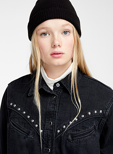 Studded Western denim shirt