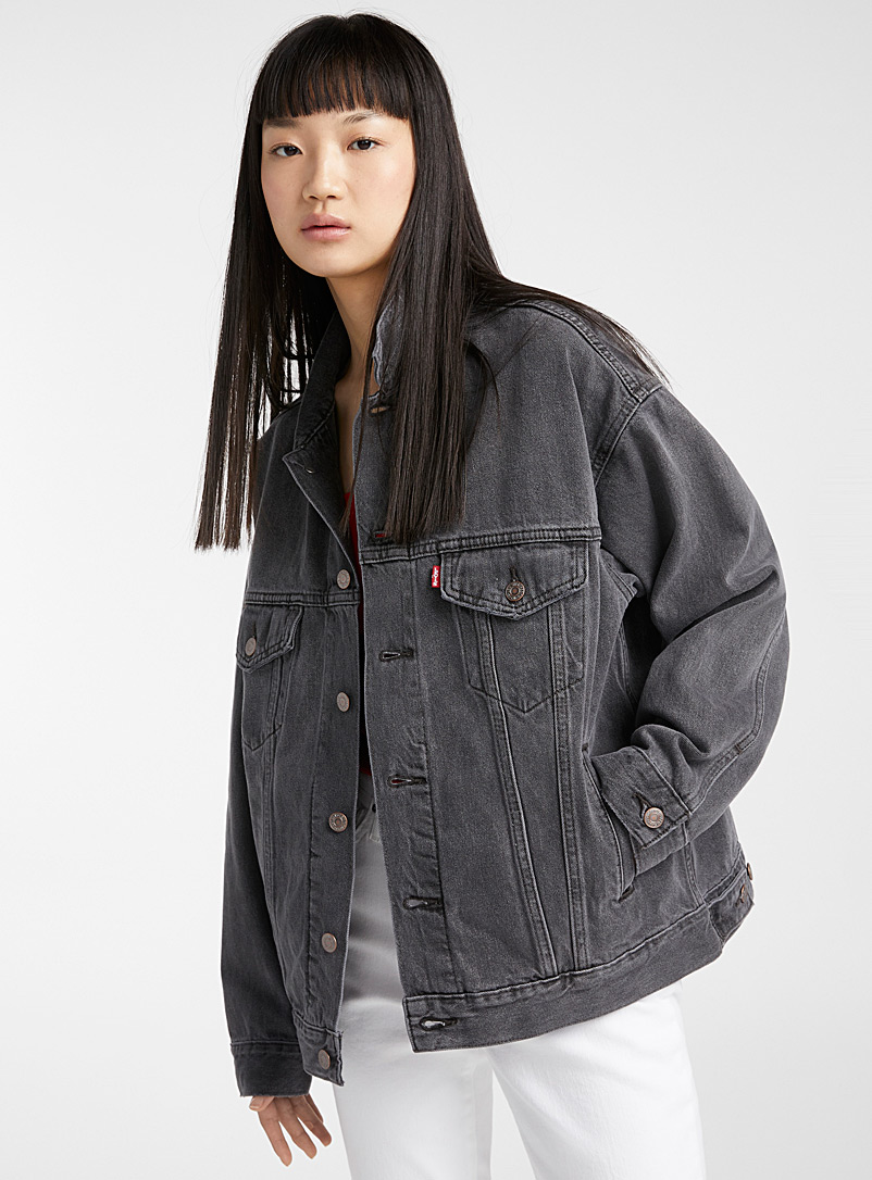 Levi's Grey Dad Trucker jean jacket for women