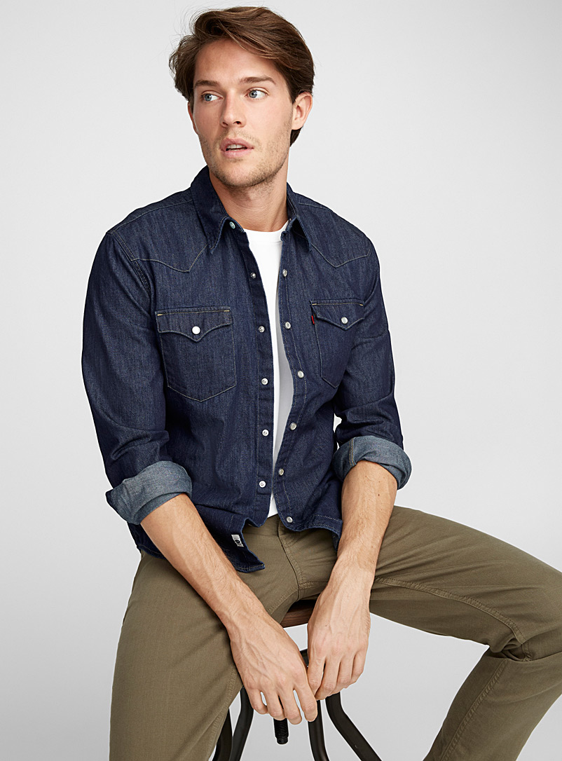 Authentic denim shirt semi tailored fit levi 39 s mens for Tailored shirts for men