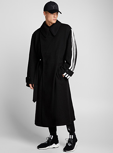 Three-stripe belted coat