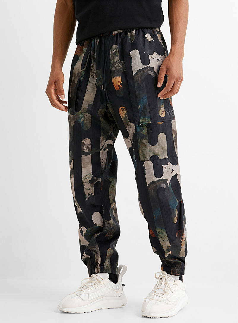 Y-3 Adidas Patterned Green Graphic camo cargo pant for men