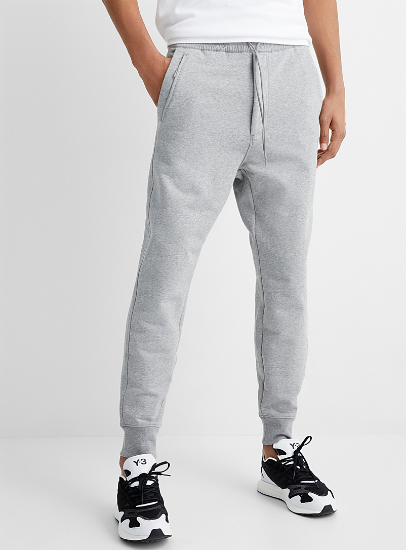 Y-3 Adidas Grey Heathered track pant for men