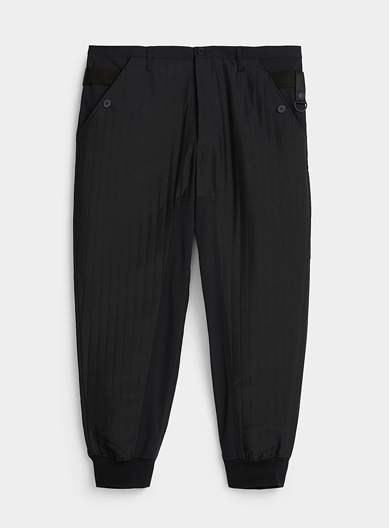 Y-3 Adidas Black Quilted joggers for men