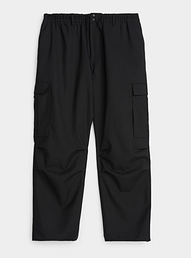 Y-3 Adidas Black Elastic waist twill cargo pant for men