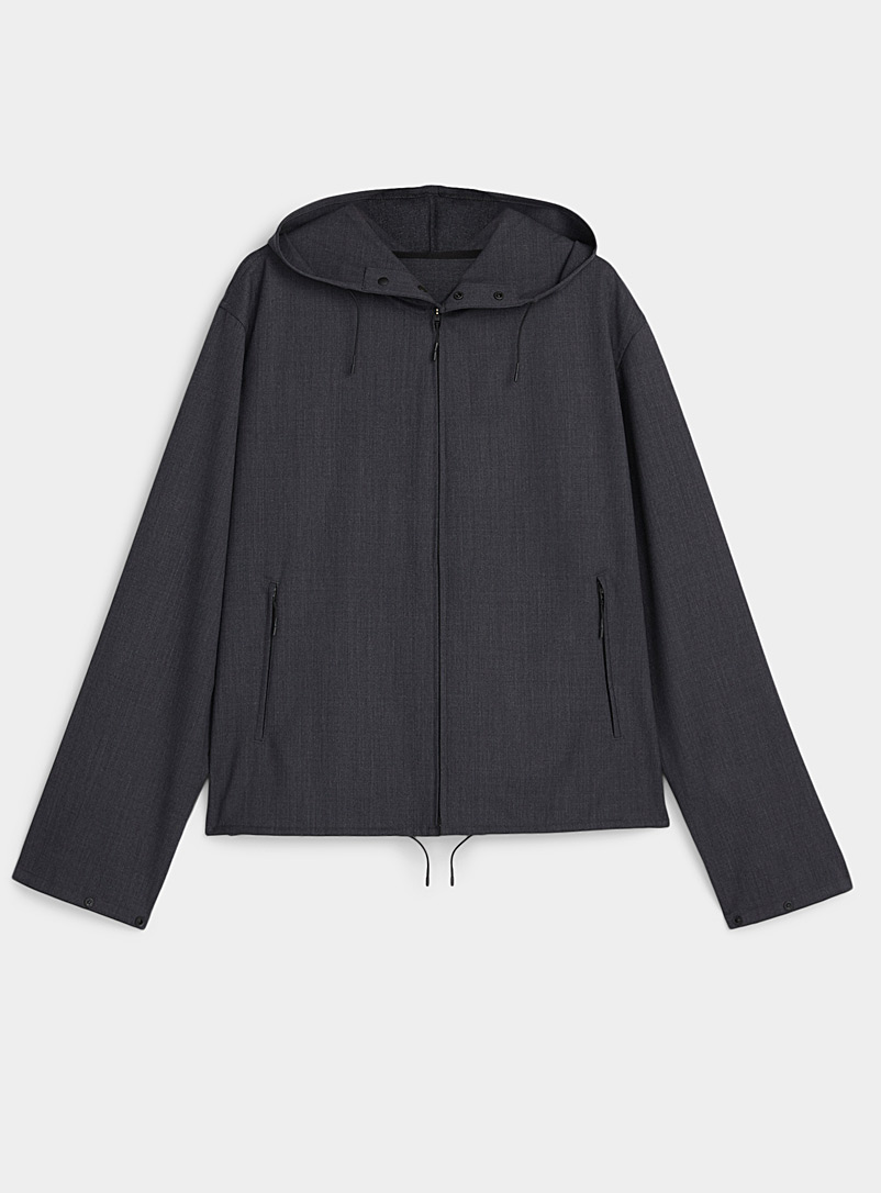 Y-3 Adidas Charcoal Chambray wool windbreaker for men