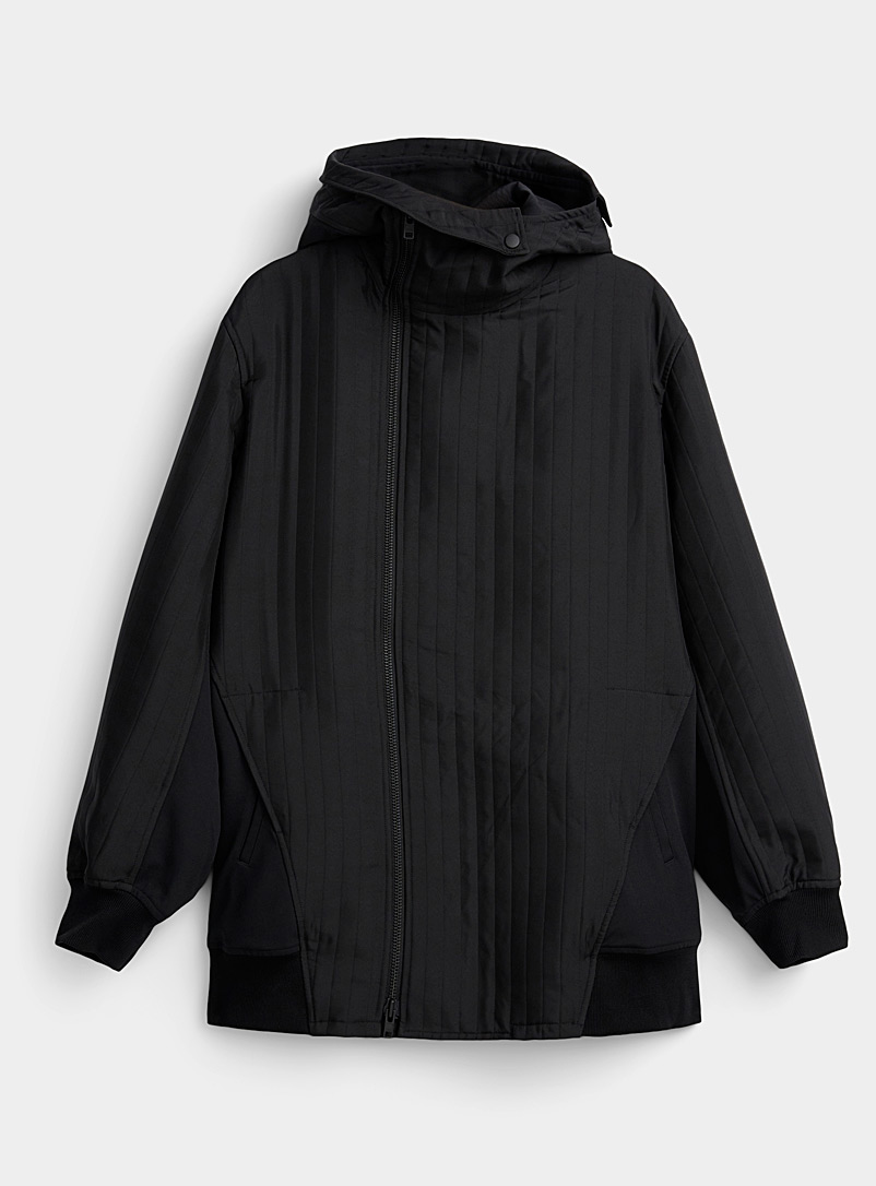 Y-3 Adidas Black Long quilted jacket for men