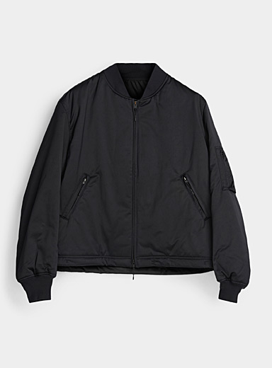 Y-3 Adidas Black Logo-back bomber jacket for men