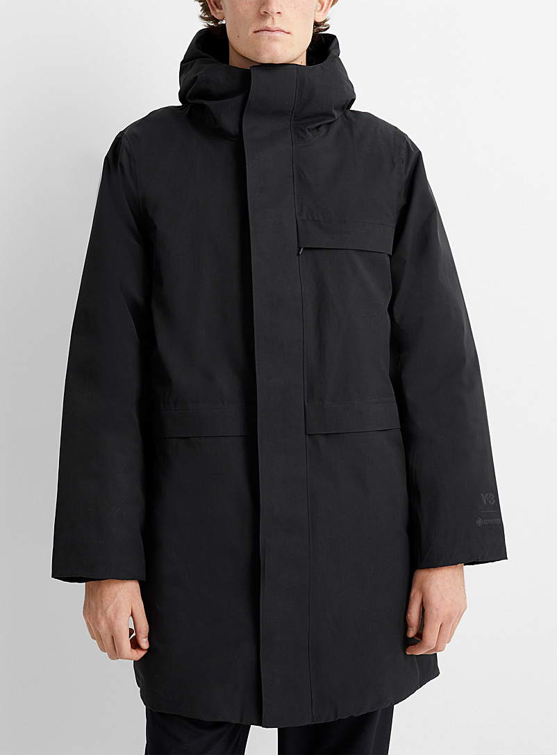 Y-3 Adidas Black Black Gore-Tex parka for men