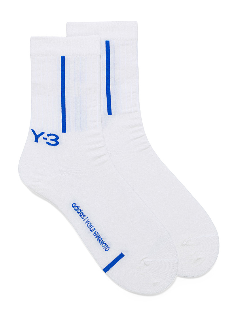 Y-3 Adidas Ivory White Sporty band socks for men