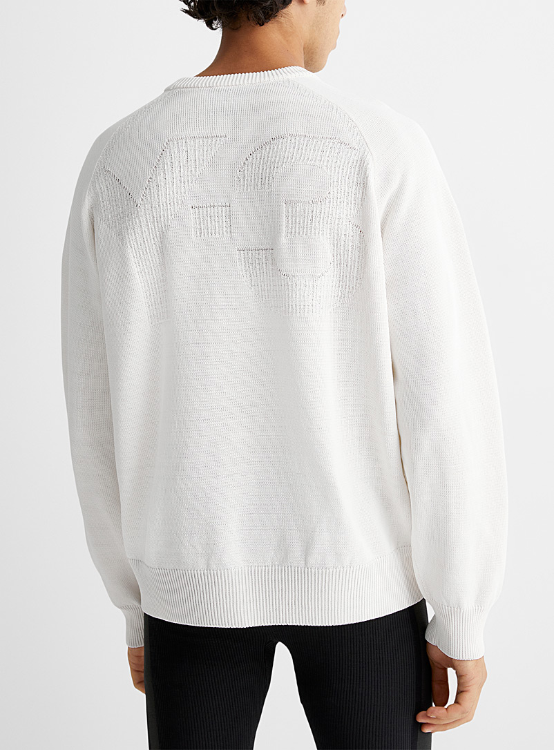Y-3 Adidas Ivory White Embossed logo knit sweater for men