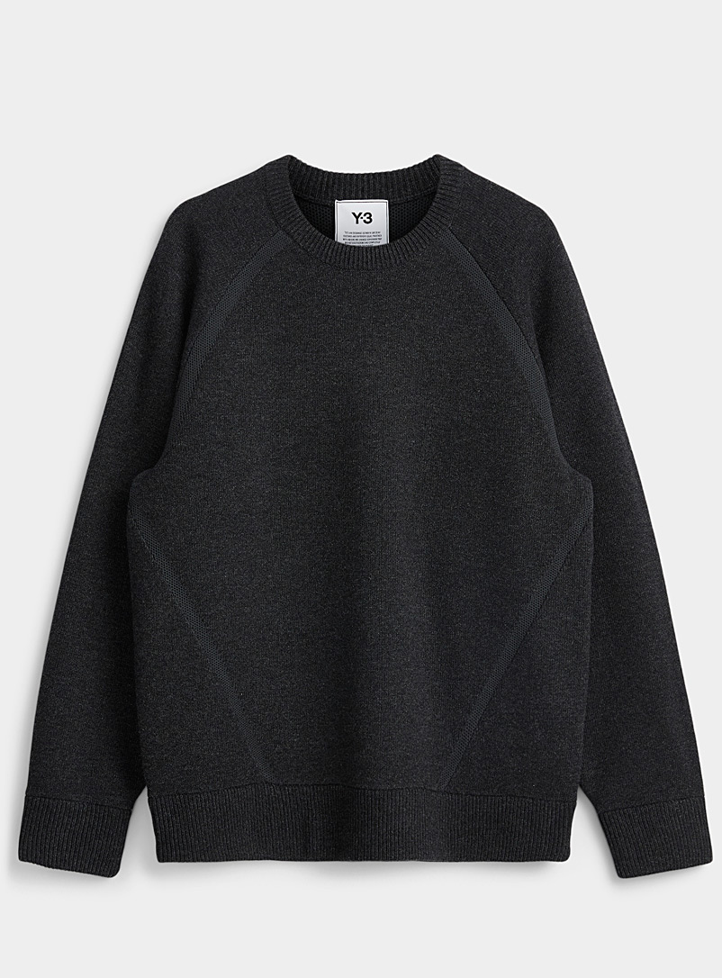 Y-3 Adidas: Le pull dos logo maille filet Charbon pour homme