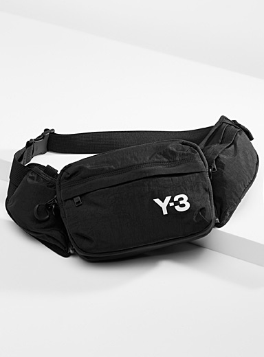 Y-3 Adidas Black Contrast logo belt bag for men