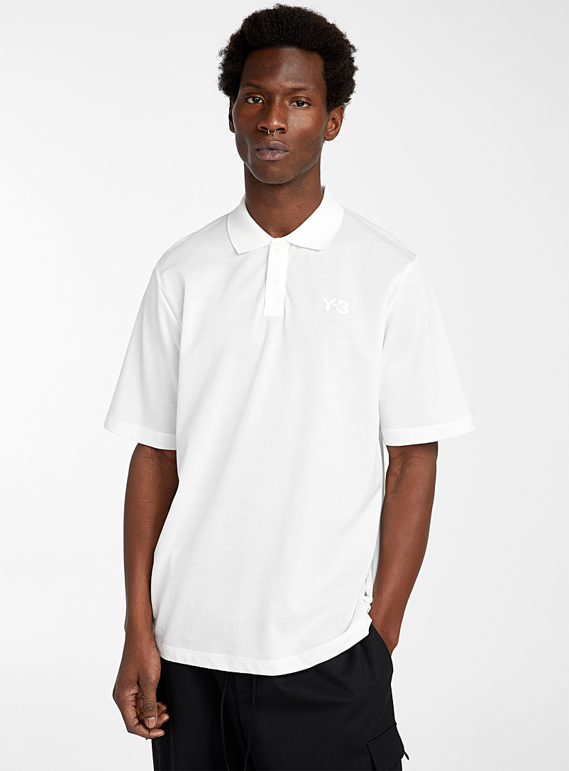 Y-3 Adidas White Classic piqué polo for men