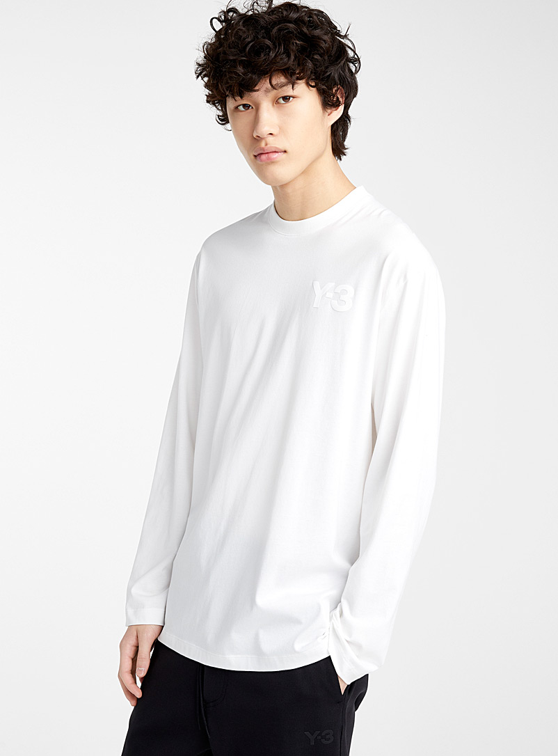 Y-3 Adidas Ivory White Vinyl logo long-sleeve T-shirt for men