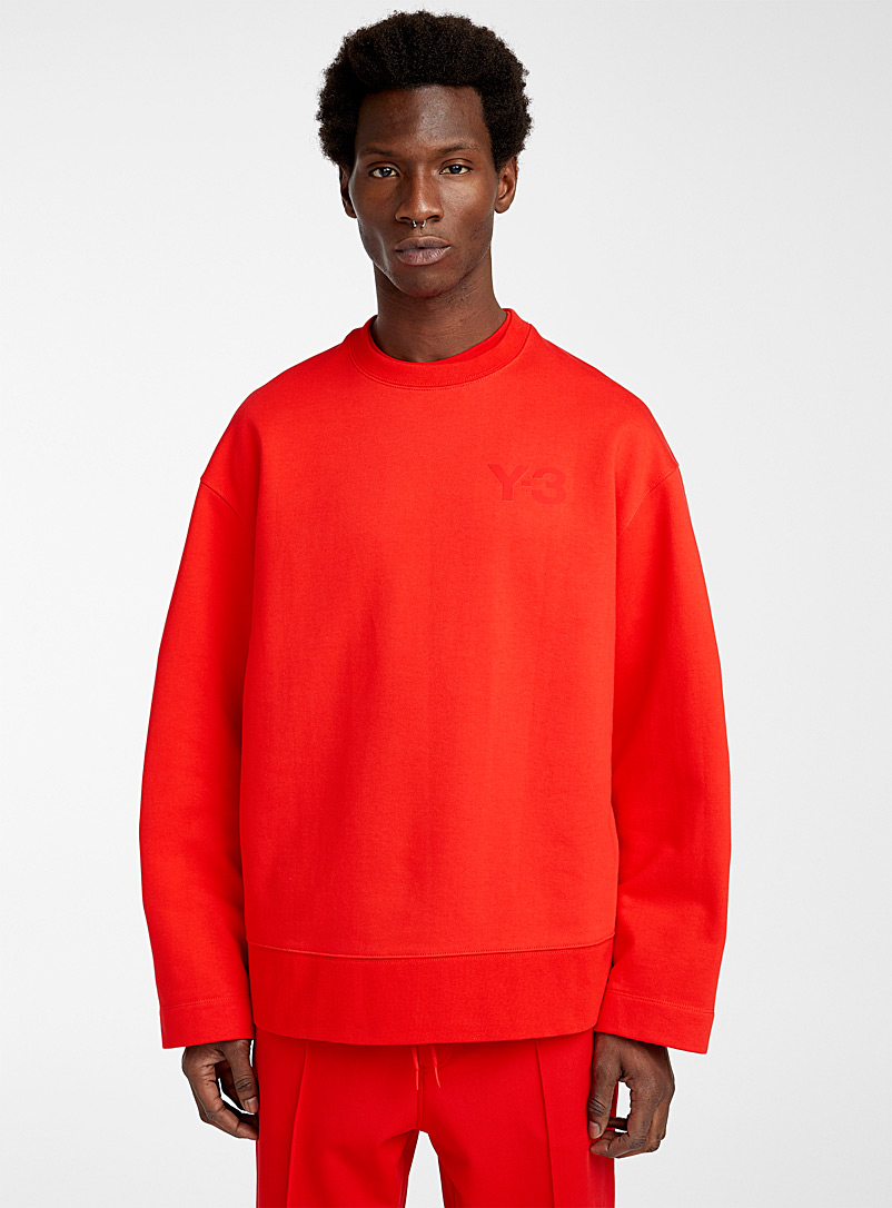 Y-3 Adidas Red Tone-on-tone logo sweatshirt for men