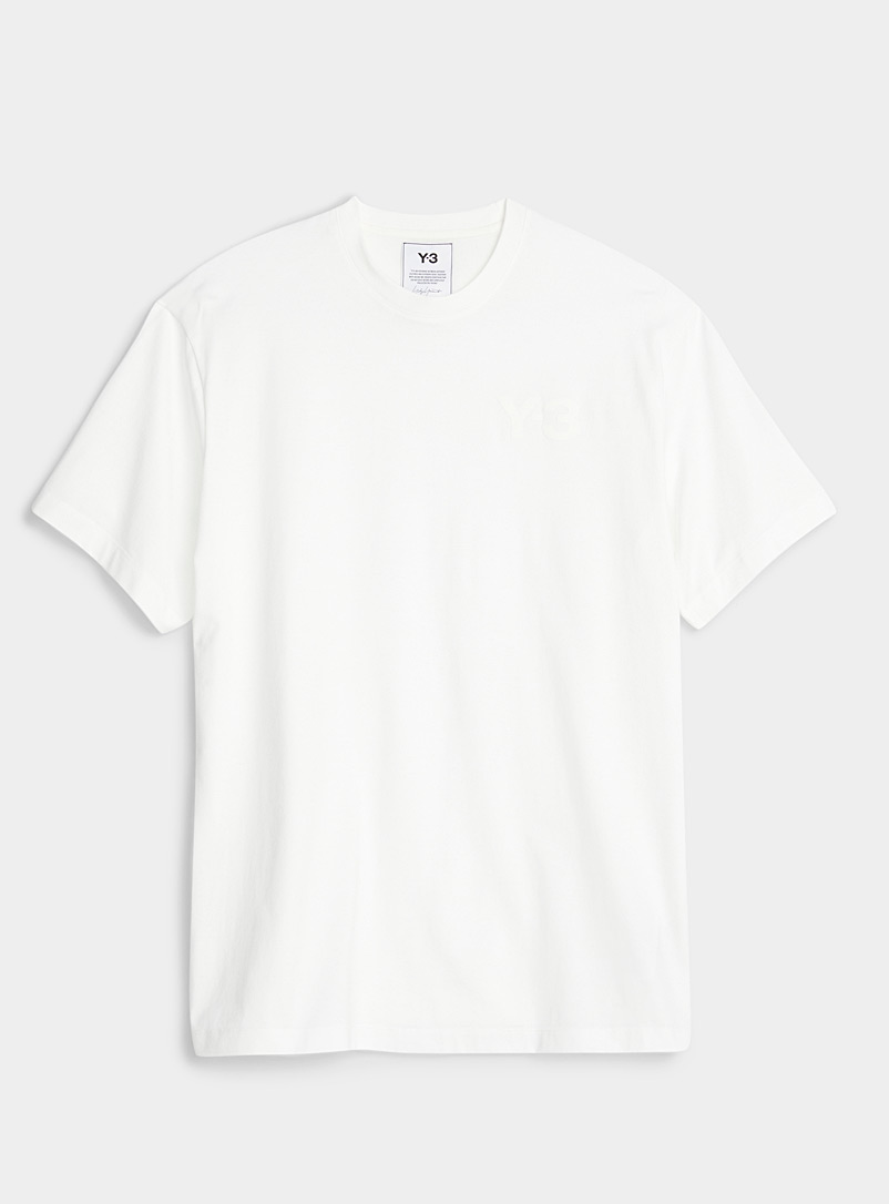 Y-3 Adidas White Tone-on-tone logo white T-shirt for men