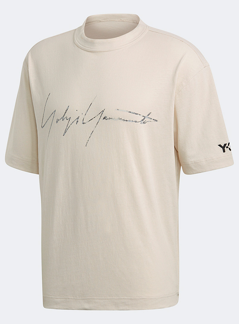 Y-3 Adidas Ivory White Signature T-shirt for men